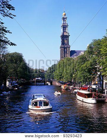 Prinsengracht and Westerkerk, Amsterdam.