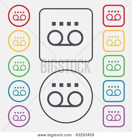 Audio Cassette Icon Sign. Symbol On The Round And Square Buttons With Frame. Vector