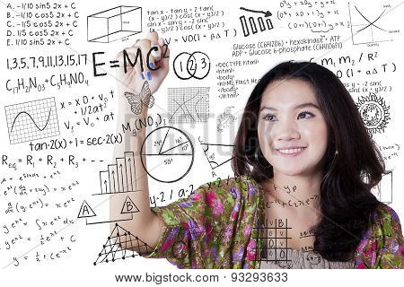 Girl Writes Math And Science Formula