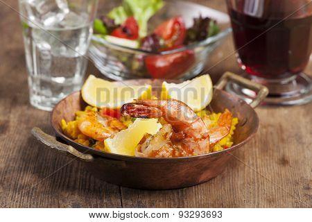 closeup of spanish paella