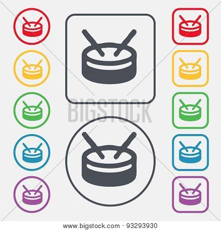Drum Icon Sign. Symbol On The Round And Square Buttons With Frame. Vector