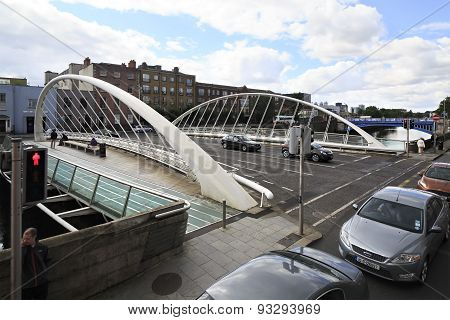James Joyce Bridge and River Liffey