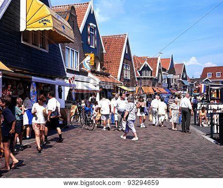 Quayside shopping street, Volendam.