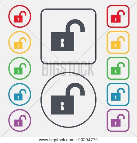 Open Lock Icon Sign. Symbol On The Round And Square Buttons With Frame. Vector