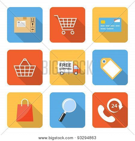 Flat Shopping Icons With Long Shadows. Vector Illustration