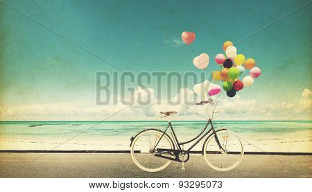 Card of bicycle vintage with colorful balloon