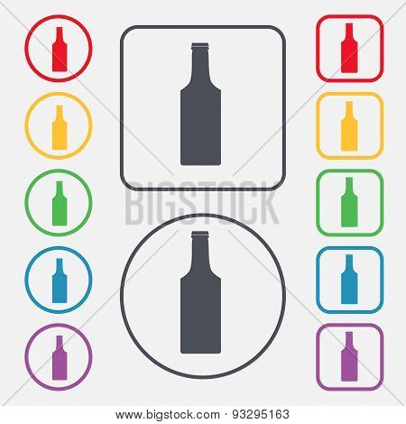 Bottle Icon Sign. Symbol On The Round And Square Buttons With Frame. Vector