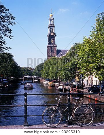 Canal and Westerkerk, Amsterdam.