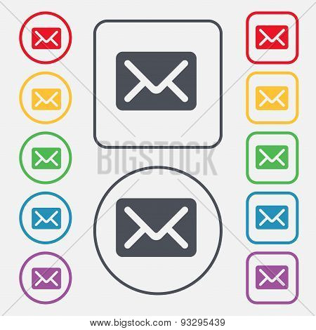 Mail, Envelope, Letter Icon Sign. Symbol On The Round And Square Buttons With Frame. Vector