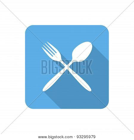 Flat Dining Icon With Long Shadow. Vector Illustration