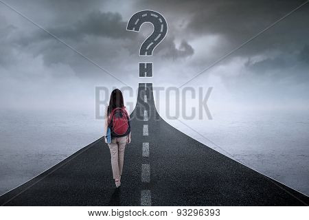 Student On The Highway With Question Mark
