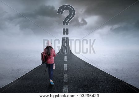 Student On The Road With Question Mark