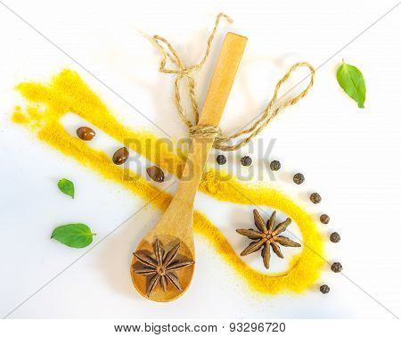 The Spices Mix On White Background.