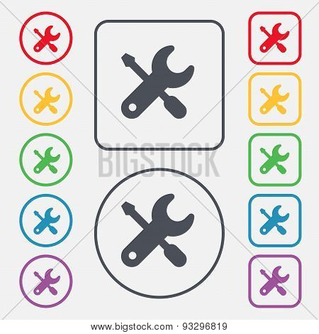 Screwdriver, Key, Settings Icon Sign. Symbol On The Round And Square Buttons With Frame. Vector