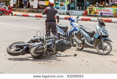 Patong, Phuket, Thailand - July 20 : The Motorcycle Crash A Car At Rauthit Songroipi Road. On July 2