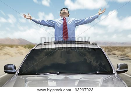 Successful Person With New Car