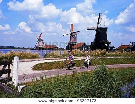 Windmills and cyclists, Zaanse Schans.