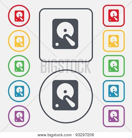 Hard Disk Icon Sign. Symbol On The Round And Square Buttons With Frame. Vector