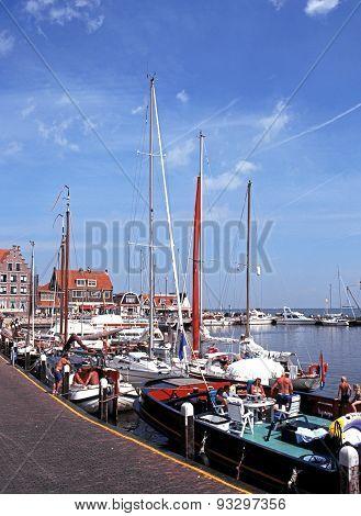 Yachts in Volendam Harbour.