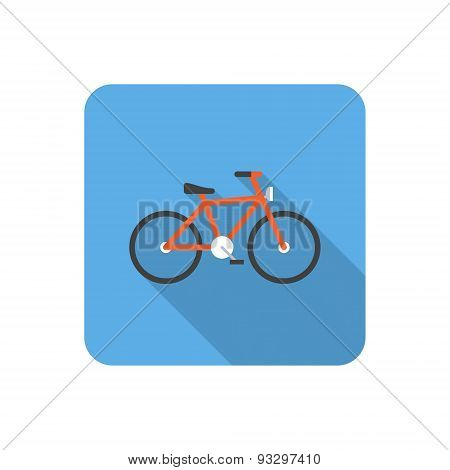 Flat Bicycle Icon With Long Shadow. Vector Illustration