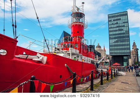 Red Ship At The Albert Dock In Liverpool, Uk
