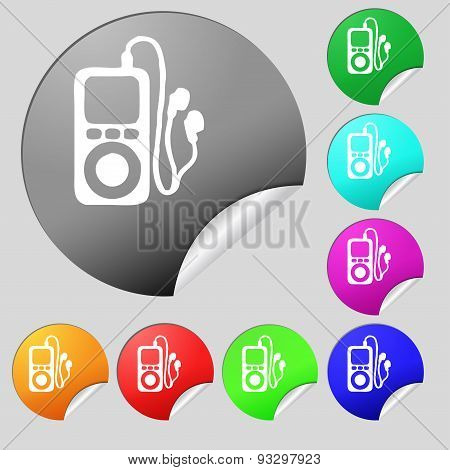 Mp3 Player, Headphones, Music Icon Sign. Set Of Eight Multi Colored Round Buttons, Stickers. Vector