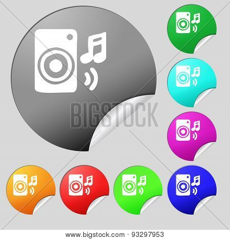 Music Column, Disco, Music, Melody, Speaker Icon Sign. Set Of Eight Multi Colored Round Buttons, Sti
