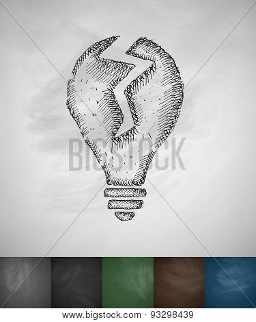 broken light bulb icon
