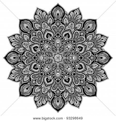 Mandala geometric circle element, black