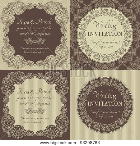 Baroque wedding invitation set, brown and beige