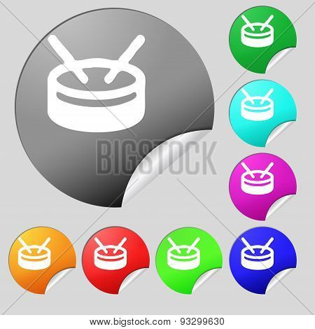 Drum Icon Sign. Set Of Eight Multi Colored Round Buttons, Stickers. Vector