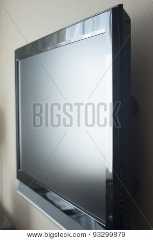 Flat Wide Led Screen Television Set On Wall