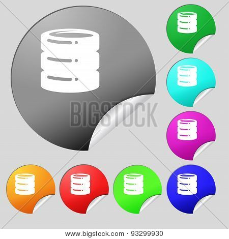 Hard Disk Icon Sign. Set Of Eight Multi Colored Round Buttons, Stickers. Vector