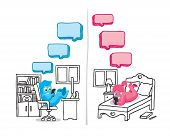 stock photo of conversation  - Illustration of text message conversation between couple - JPG