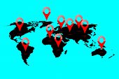 stock photo of continent  - World map location - JPG