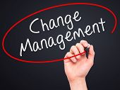 pic of change management  - Man hand writing Change Management on visual screen - JPG