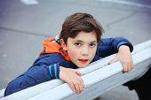 image of preteen  - preteen handsome boy close up outdoor portrait  - JPG