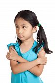 picture of mood  - Little asian girl sulk in bad mood isolated on white background - JPG