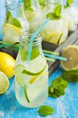 pic of mints  - Lemonade In Glass Bottle With Ice And Mint - JPG