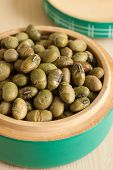 pic of soya beans  - Soya Nuts soy beans baked or roasted until crisp and brown then seasoned a crunchy snack - JPG