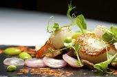 picture of piglet  - Piglet sauteed with scallops and prawns - JPG