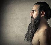pic of long beard  - Naked man with a long dark beard - JPG