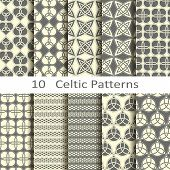 stock photo of celtic  - vector set of ten traditional celtic patterns - JPG