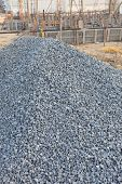image of sand gravel  - piles gravel and sand for construction - JPG