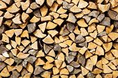 foto of firewood  - the split firewood photographed by a close up - JPG