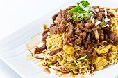 stock photo of bean sprouts  - Stewed meat with noodles and bean sprouts - JPG