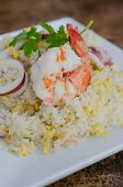 picture of squid  - close up Fried rice with shrimp and squid - JPG