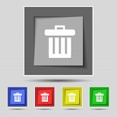 foto of recycling bin  - Recycle bin icon sign on original five colored buttons - JPG