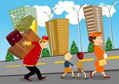 image of carry-on luggage  - bellhop helping a woman with children to carry luggage on his back - JPG