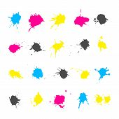 pic of color spot black white  - Set of ink splashes elements in a CMYK color scheme isolated on white background - JPG